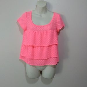 American Eagle Neon Coral Zip Back Crop Top S NWT